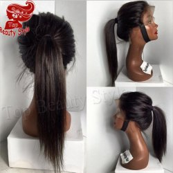 Fast shipping natural black Silky Straight synthetic lace front wig resistant for