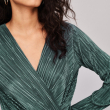 Sexy Long Sleeve V Neck Bodysuit for Women 2019 Summer New Fashion Green Textured Shirts Button Tops Elegant Playsuits