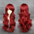 MCOSER Fashion Mermaid Wig Wine Red Long Wavy Womens Wig Synthetic Lolita Part
