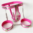 3 pcs/set pink silicone stainless steel male chastity belt pants thigh ring anal