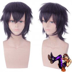 Anime JOJO Bizarre Adventure Golden Wind Ghirga Narancia Dark Purple Short Wig Cosplay Costume Synthetic Hair Perucas