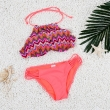 2016 Women's Sexy High Neck Bikini Bathing Suit Zig Zag Print Vintage Swimwear Bikin