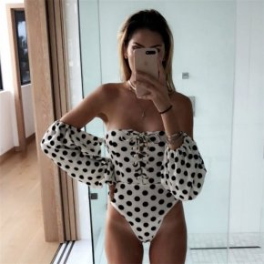 Sexy Dot Skinny Female Bodysuits Fashion One-Shoulder Womens Loose Sleeve Body Jumpsuits Woden Casual Popular Bodysuit