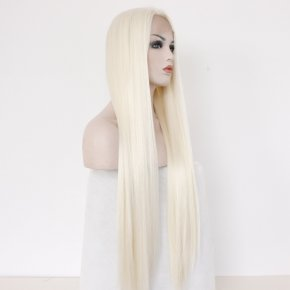 Fashion Long Straight White Blonde Resistant Synthetic Hair Lace Front Wig Glueless