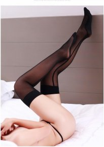 Black Seam Effect Womem sexy stockings Transparent Silk Stocking hose Sexy pant