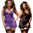 Fast Delivery Black Purple Plus Size S-6XL Sexy Lingerie Lace Babydoll Underwire