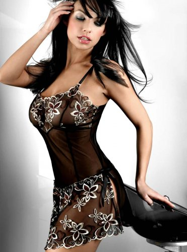 Europe and America Sexy Lingerie Sexy Nightgowns Embroidered See Through Lingerie