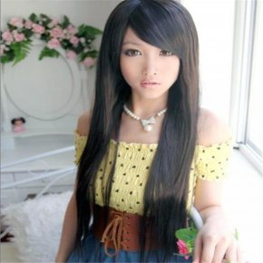 high fashion women wigs natural resistant synthetic wigs with bangs female brown