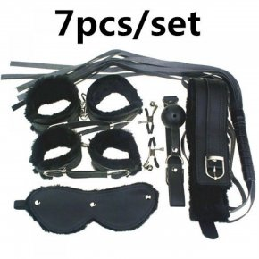Adult Game 7Pieces kit Leather Fetish sex bondage Restraint Handcuff gag Queen Const