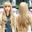 fashion women wigs natural resistant synthetic wigs with bangs long curly blonde