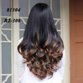 Synthetic Half Wig Curly Hair Long Wavy Ombre Half Wigs for Women Female Curly Fake