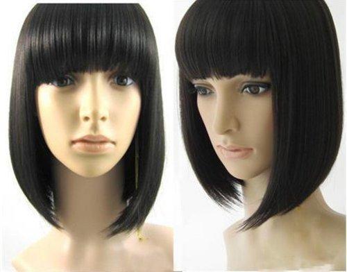 !Synthetic High Temp Fiber Short cheap Bob black Lolita cosplay Wig women
