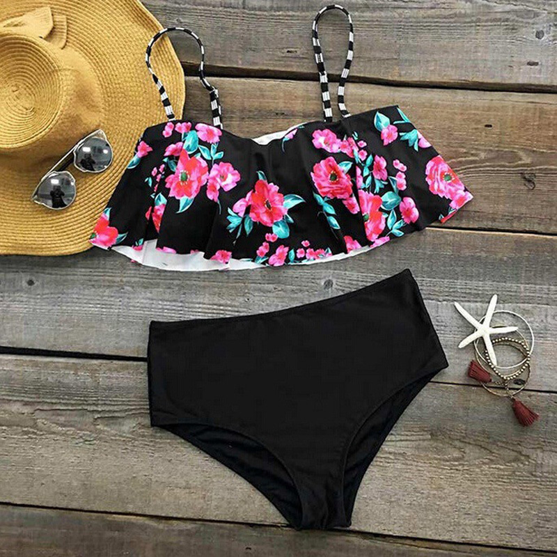 2017-Sexy-New-Ruffle-Vintage-Bikinis-Swimwear-Women-Swimsuit-Bandage-Solid-Top-Flowers-Cut-Out-Bottom (2)