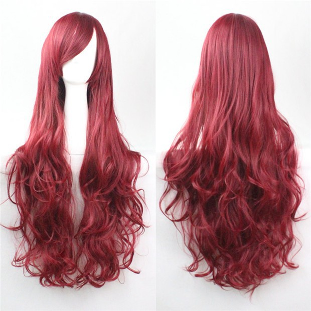 32 Long Light Blonde Purple Cosplay Wigs Woman Curly