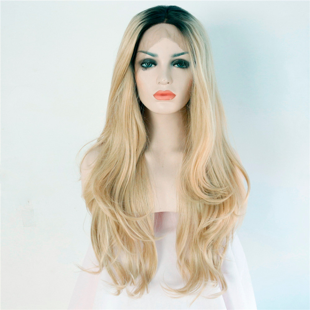 Heat-resistant-futura-fiber-Black-short-roots-ombre-blonde-two-tone-glueless-natural-wave-Synthetic-Lace