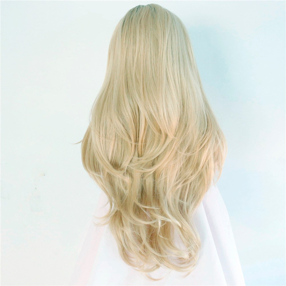 Heat-resistant-futura-fiber-Black-short-roots-ombre-blonde-two-tone-glueless-natural-wave-Synthetic-Lace2