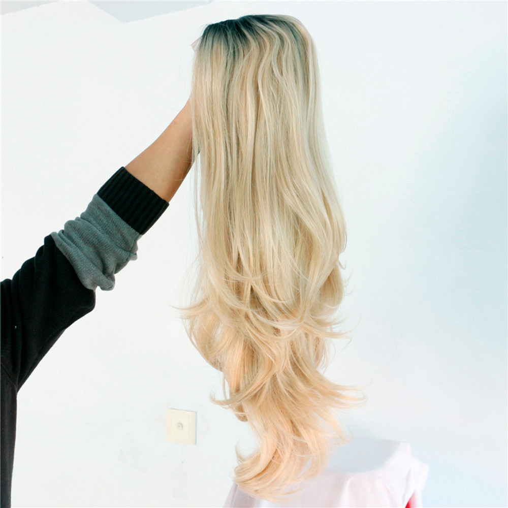 Heat-resistant-futura-fiber-Black-short-roots-ombre-blonde-two-tone-glueless-natural-wave-Synthetic-Lace3